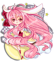 Adoptable- Pixel Lady Bunny Pink Hair (SOLD) by Z-E-N-E-R-O