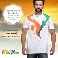 Hand-painted Love India White T-shirt by rangrageart