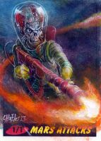 Charles Hall Mars Attacks Sketch Card by IDWLimited