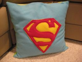 Superhero Pillow Superman Side by celina-tamwood