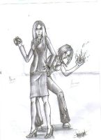 Natla and Amanda Sketch by littlesusie2006