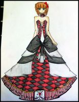 black and red  ball gown in chess style by BethzAbonitz
