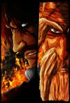 Through the fire and flames! Genryusai vs Yhwach by MmagPL