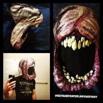 home made Halloween mask chomp mouth creep face by UglyBabyEater