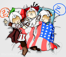 [AC] Sleeping Ezio, Altair and Connor by ChibiGaia