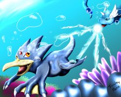 Golduck vs Dragonair by Ayane-Sabakuno