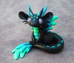 Black and Turquoise Angel Dragon by DragonsAndBeasties