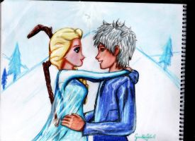 Drawing of Elsa and Jack Frost by GuillermoAntil