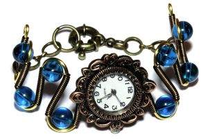 Steampunk Neo Victorian Dark Aqua Watch Bracelet by CatherinetteRings