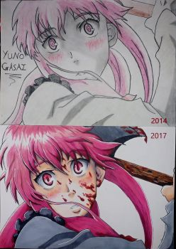 Yuno Gasai - before and after by joereynolds