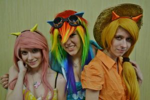 Fluttershy, Rainbow Dash and Apple Jack by SparklesStorm
