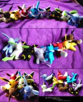 Mini Eeveelution Plush Set v2 by SmileAndLead