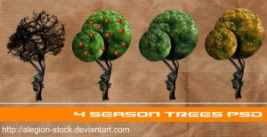 4 season trees PNG by Alegion-stock