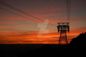 Sunset and Tram Cables by RachelLeah