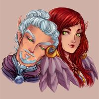 Commission. Aelynith and Vaelethian by AShiori-chan