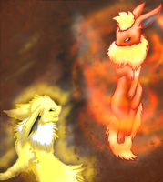 Entry, Flareon VS Jolteon by SazuXkittyXmi