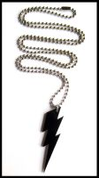 Black Acrylic Bolt Necklace by cherryboop