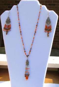 Orange and brown necklace and earring set by Hawksong76