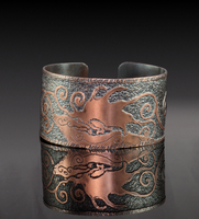 Megaloceros Giganteus Etched Copper Cuff by Gardi89