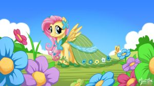 Fluttershy in Gala Dress 16.9 by mysticalpha
