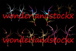 6 pairs of big antlers png rainbow, gold, lava by wonderlandstockX
