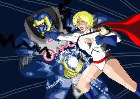 Monarch Vs Powergirl.. by adamantis