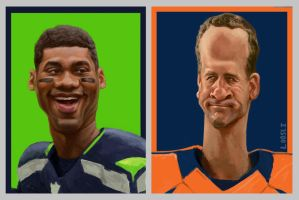 Russell Wilson and Peyton Manning by infernovball