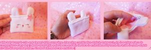 Cute Soft White Bunny Pouch by BlueDove415