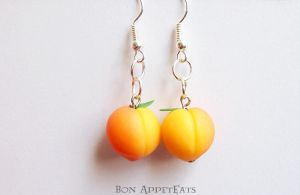 Commission - Peach Earrings by Bon-AppetEats