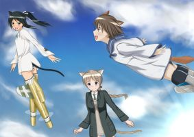 strike witches fly in the sky by AtelierNorte