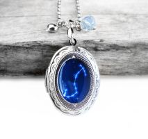 Constellation Scorpio Resin Oval Locket Necklace by crystaland