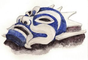 Day 156 - Mask of the Blue Spirit by Chame