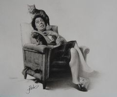 cat and woman by yinyuming