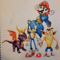 Spyro | Sonic | Crash | Mario by Aimss-Art