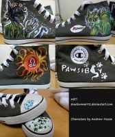 PAWSibly RAWRRR!! Canvas Shoes :3 by shadowmer92