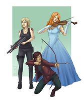 Tris, Katniss and America by AlbinoNial
