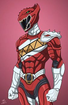 Red Carnotaurus Ranger commission by phil-cho