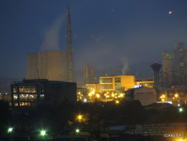 Chemical Plant at night by albuemil