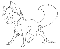 Foxy Lineart ::MS Paint:: by LittleSpiritWing