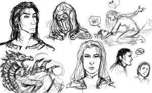Dragonrend Sketchdump by Distraction-Number-4