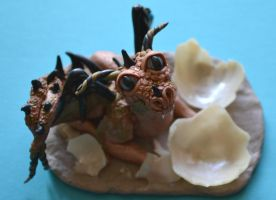 Earth Dragon Hatchling Polymer Clay Sculpture by Elle-Arden