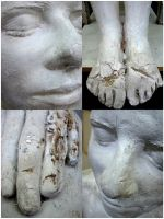 plaster woman face hand feet by kayne-stock