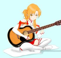 Asuna Playing Guitar by SC2Battousai