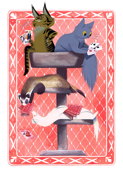 Cats and Ferrets Playing Cards by Pocketowl