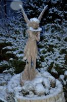 Snowing  on my Fairy Statue by FairieGoodMother