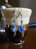 Blue and Gold Earrings by dainty-doe