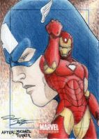 MU - Iron Man-Captain America Sketch Art Card by DenaeFrazierStudios