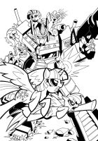 Optimus Prime and the Mane 6 by krynos79