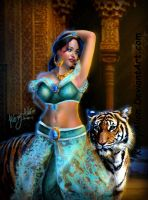Disney princess jasmine and tiger (term 2) by KioryAlion