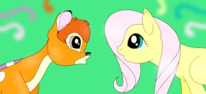 Bambi meets Fluttershy by pegasus20101000